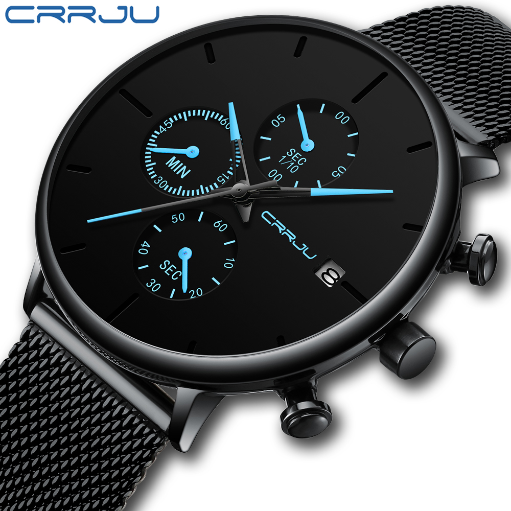 2019 CRJU Novos Relógios Relógios de Marca de Topo Homens De Luxo Minimalista Diário Vestido Preto Azul Mãos presente Decente para o Homem 2268 kol saati