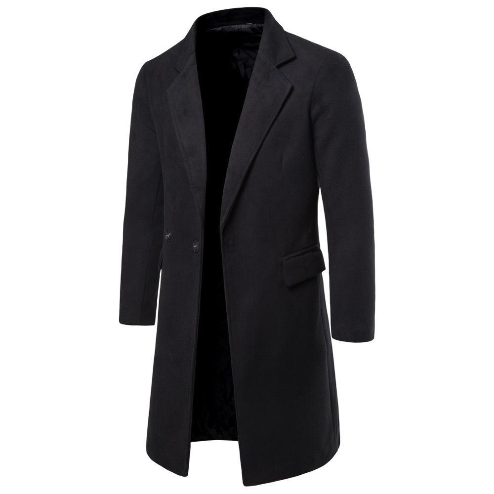 2020 Autumn Winter New Man Wool Blends Long Coat Jacket Male Slim Fit Cashmere Overcoats Outerwear
