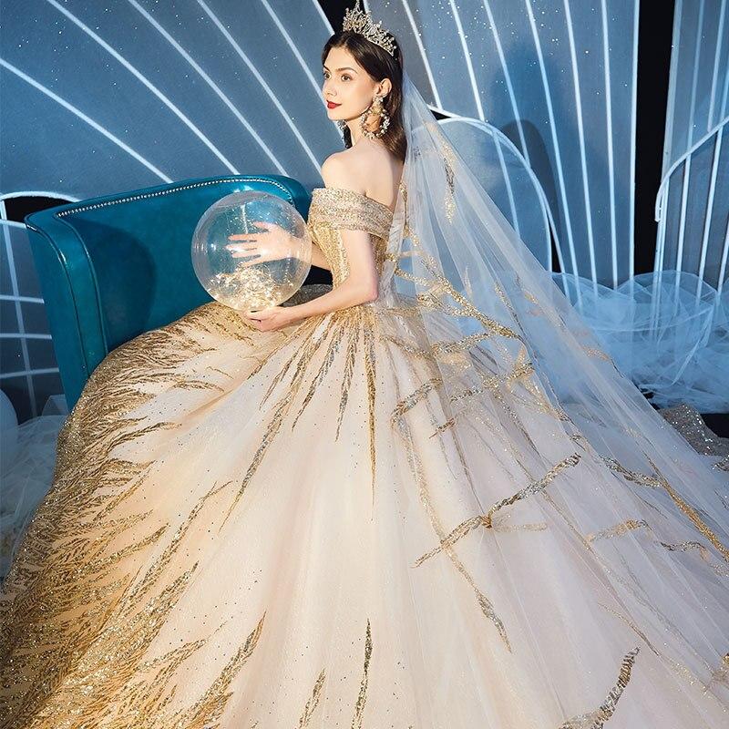 Image 4 - Lindo dubai sexy vestidos de casamento de luxo dourado 2020 lantejoulas fora do ombro vestidos de noiva vestido de noiva feito sob encomenda bodaVestidos de Noiva   -