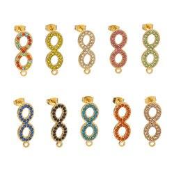 Nieskończony Symbol ze stali nierdzewnej zaczep na ucho mikro-inkrustowane cyrkonią kolczyki pozłacane instrukcja DIY tworzenia biżuterii komponent akcesoria