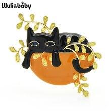 Броши wuli & baby с эмалью изображением милого кота сидит в