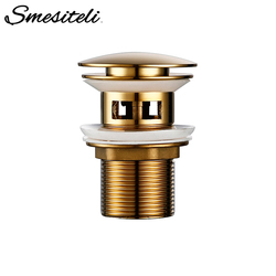 Smesiteli Luxury Bath Bathroom Lavatory Sink Drainer Polished Old Gold Anti-Corrosion Durable Water Pop Up Drain With Overflow