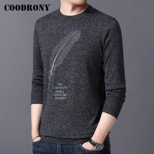 Image 2 - COODRONY suéter informal de punto para hombre, Jersey de algodón con cuello redondo, jersey de lana para hombre, moda de otoño e invierno, 91080