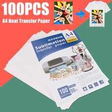100 folhas a4 papel de transferência térmica de papel de sublimação para epson hp para canon impressora a jato de tinta na cor clara camisas chapéu boné caneca copo
