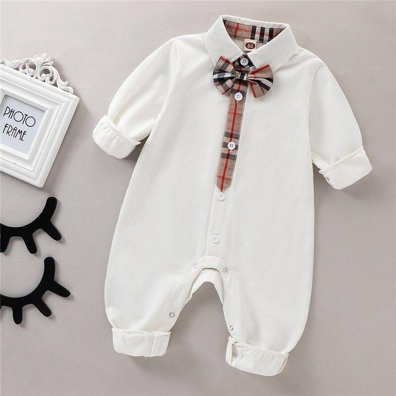 Модный комбинезон для новорожденных мальчиков комбинезон из 100% хлопка с длинным рукавом весенне-осенняя одежда для малышей однотонная дет...