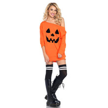 Women Cold Shoulder Pumpkin Costume Dress Halloween Fancy
