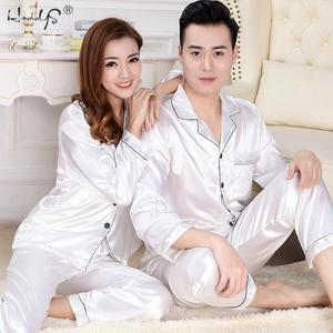 Image 3 - Новинка, пижамный комплект для пар, длинная и короткая Пижама на пуговицах, костюм для женщин и мужчин, домашняя одежда, Женский пижамный комплект