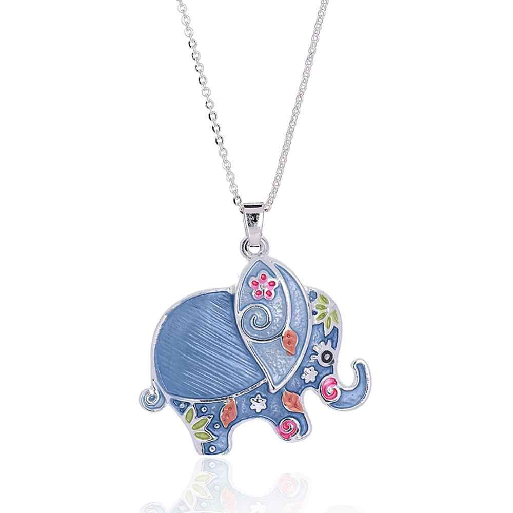 חדש כסף צבע שרשרות שרשרת לנשים טרנדי נקבה כחול פיל תליון קולר לולאות לידה שנה ילדים חברים שרשראות