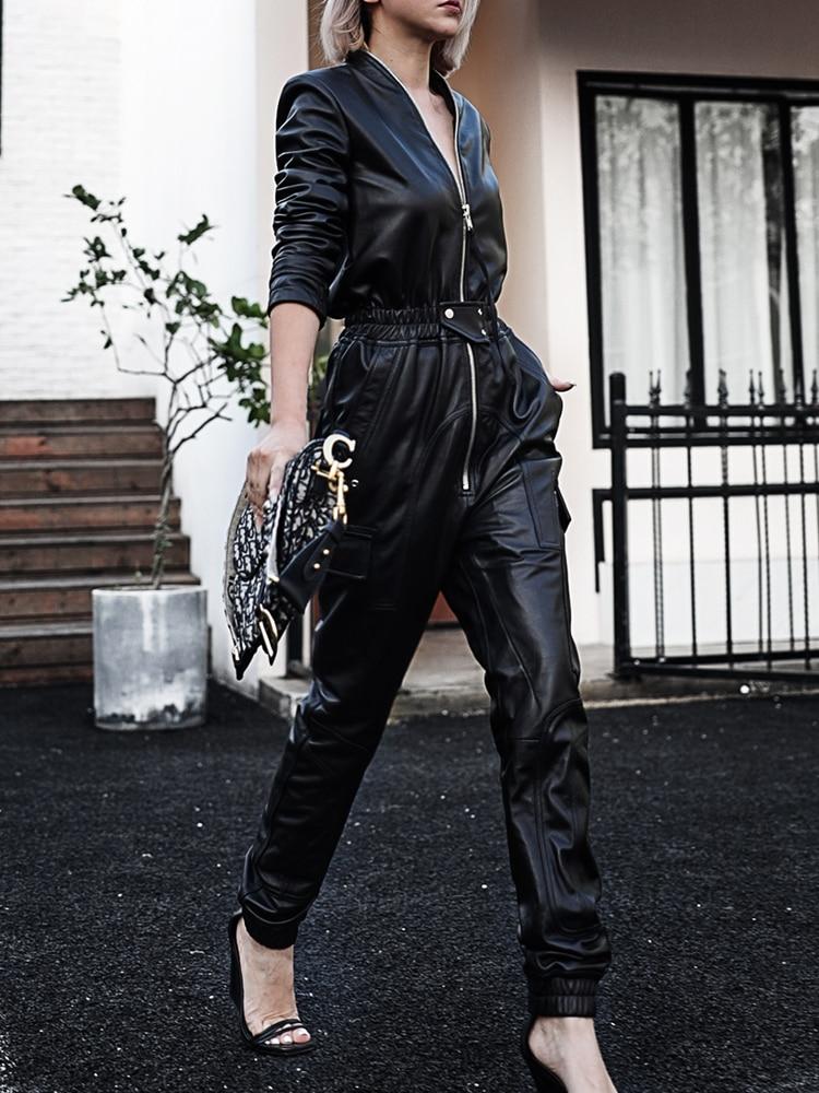 Nerazzurri Lungo nero del cuoio del faux delle donne della tuta a manica lunga chiusura lampo Più Il formato dell'unità di elaborazione tute in pelle per le donne 2020 Streetwear