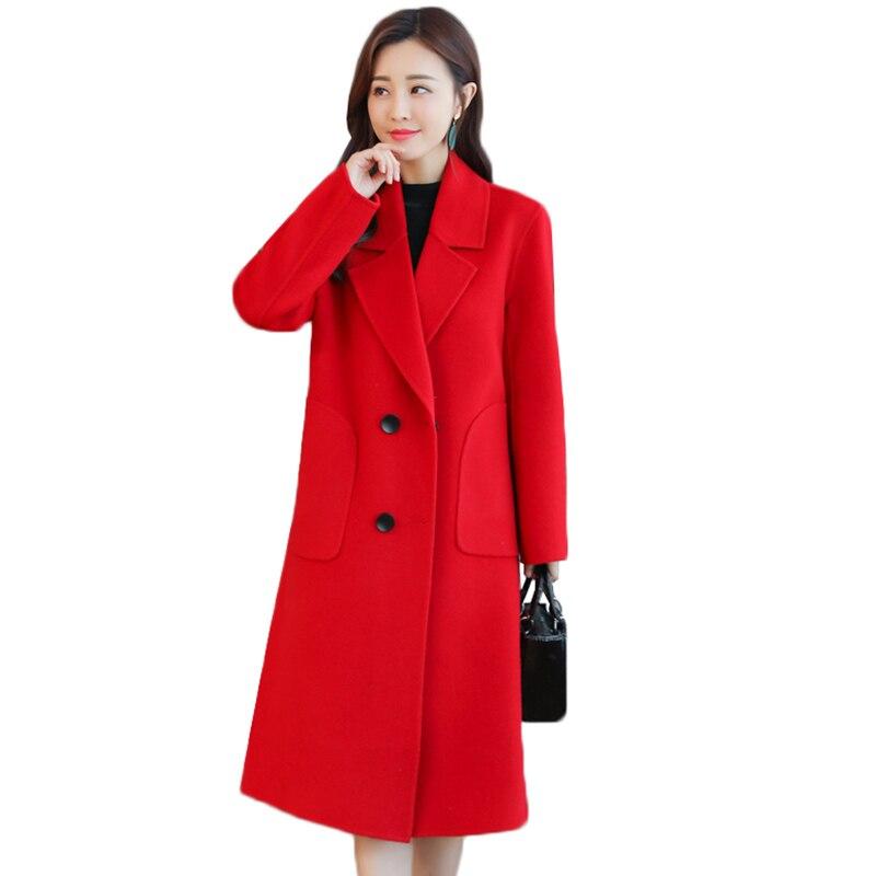 Grande taille 5XL haute qualité femmes laine veste 2019 automne hiver double boutonnage survêtement élégant femmes lâche Long manteau de laine