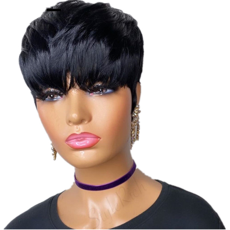 Short Black Natural Straight Wigs Full Machine Made 98% Human Blend Synthetic Hair Pixie Cut Wig For Women Daily Use Dream Ice