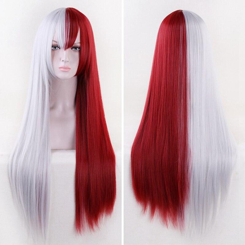 Shoto todoroki cosplay peruca meu herói academia cosplay peruca vermelho branco resistente ao calor do cabelo + tampão peruca livre