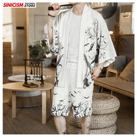 Sinicism Store 2020 Print White Summer Loose Tracksuit Men Mens Kimono Shorts Suit Sets Male Chinese Style 2 Piece Sets Clothes