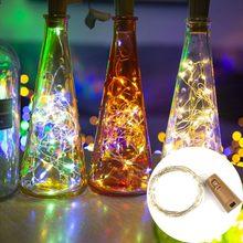 Luzes coloridas da corda das luzes de fadas do fio de cobre do diodo emissor de luz de 1m 2m da garrafa de vinho da guirlanda a pilhas com a cortiça