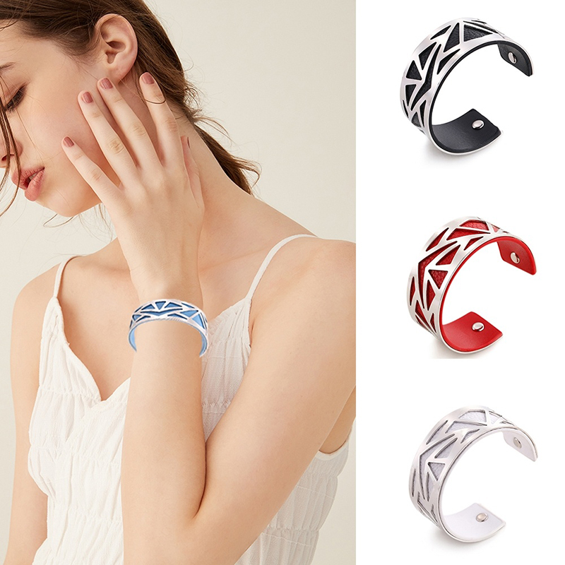SKYRIM 16 Colors Cuff Bangle Leather Sliver Gold Bracelet Georgette Indian Jewelry Pulseiras Love Bangles For Women Femme