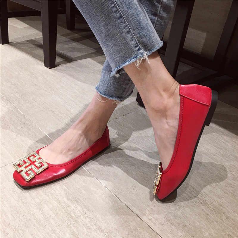 ขนาดใหญ่ผู้หญิงลูกอมสีรองเท้าผู้หญิง Loafers สแควร์ Toe แฟชั่นรองเท้าผู้หญิง Zapatos Mujer ขนาด 41