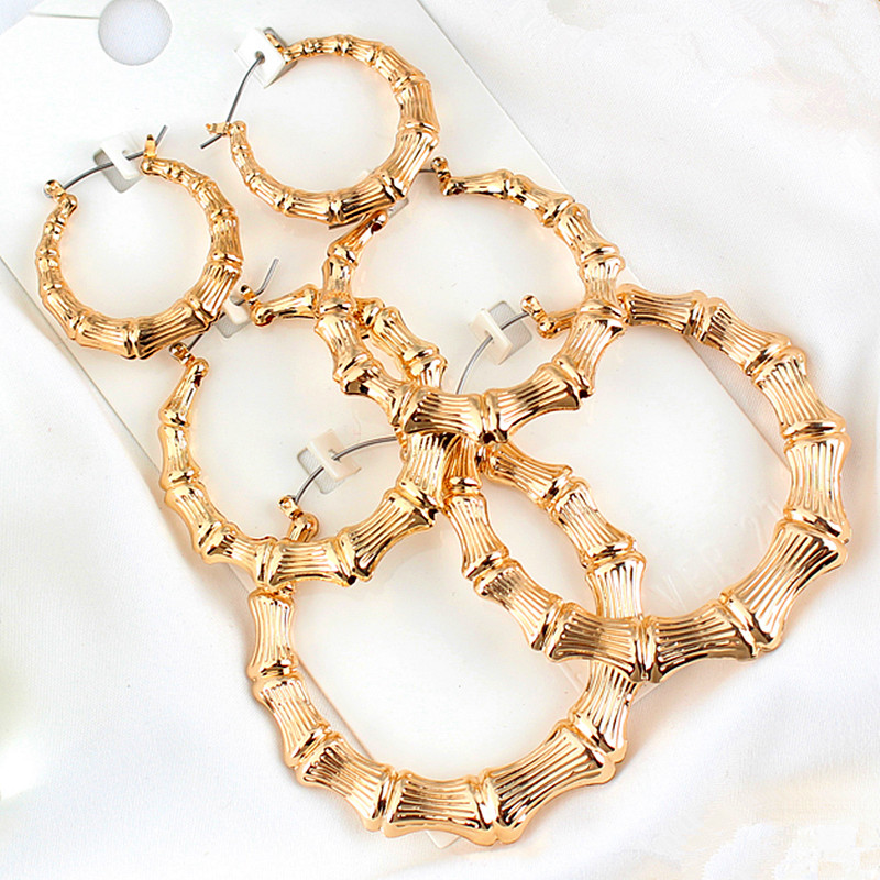 Statement Sliver/Gold Color Big Bamboo Circle Hoop Earrings For Women Hip Hop Large Celebrity Basketball Wives Earrings Hoops