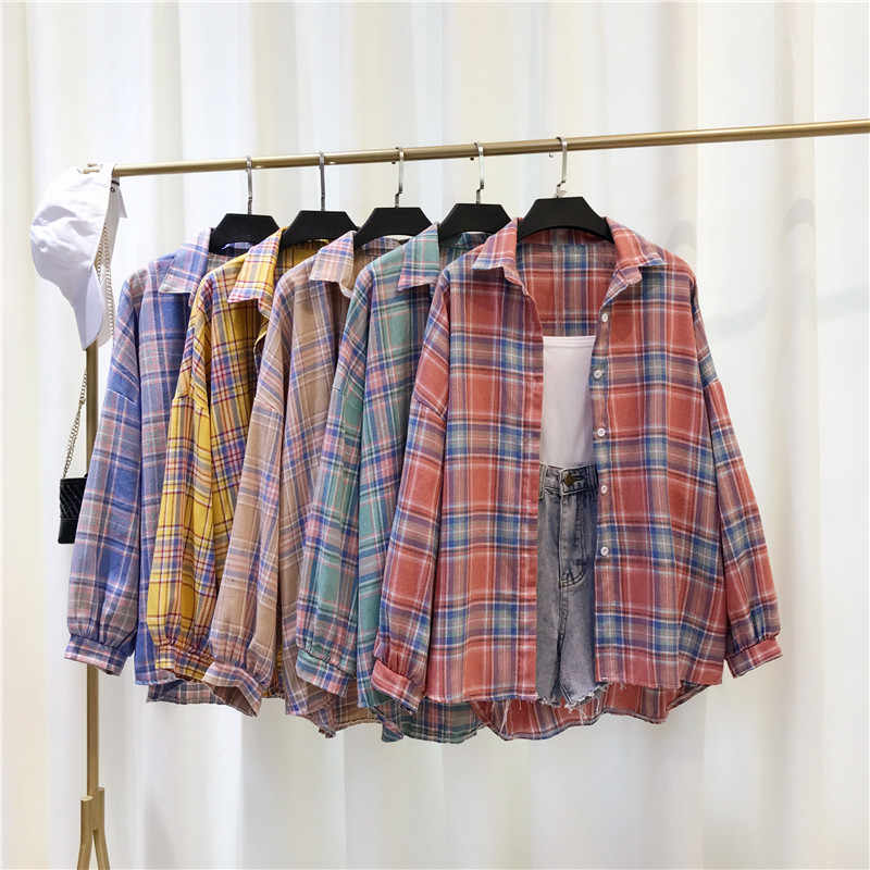 Plaid Bluse Shirt Casual Boyfriend-Style Blusen Volle Laterne Hülse Strickjacken Frauen Lose Dünne Shirts Für Weibliche