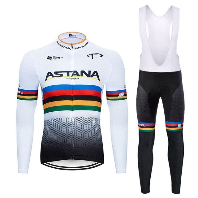 2020 astana team 2 primavera verão camisa de ciclismo dos homens manga longa bicicleta roupas com bib calças ropa ciclismo 1