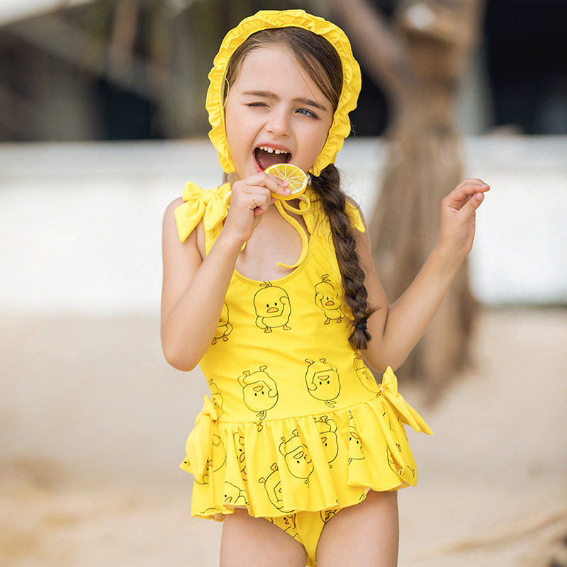 19 Summer New Style Small Yellow Duck One-piece Princess Dress-Cartoon GIRL'S Swimsuit Big Boy Swimwear CHILDREN'S Swimwear