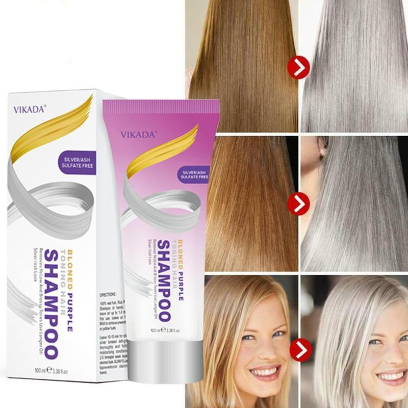 100ml Blonde Purple Hair Shampoo Removes Yellow And Brassy Tones To Silver Blonde Bleached Gray Hair Dye Effective Shampoo image