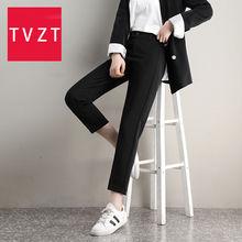 Tvzt повседневные Прямые черные брюки с высокой талией Костюмные