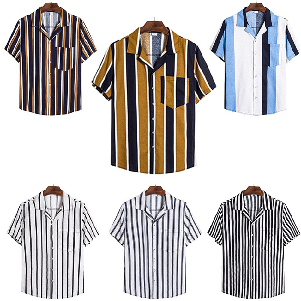 Patchwork Men Casual Shirt Party Hawaii Beach Shirts Male Striped Travelling Clothes Novelty Hip Hop Streetwear Plus Size Blusa