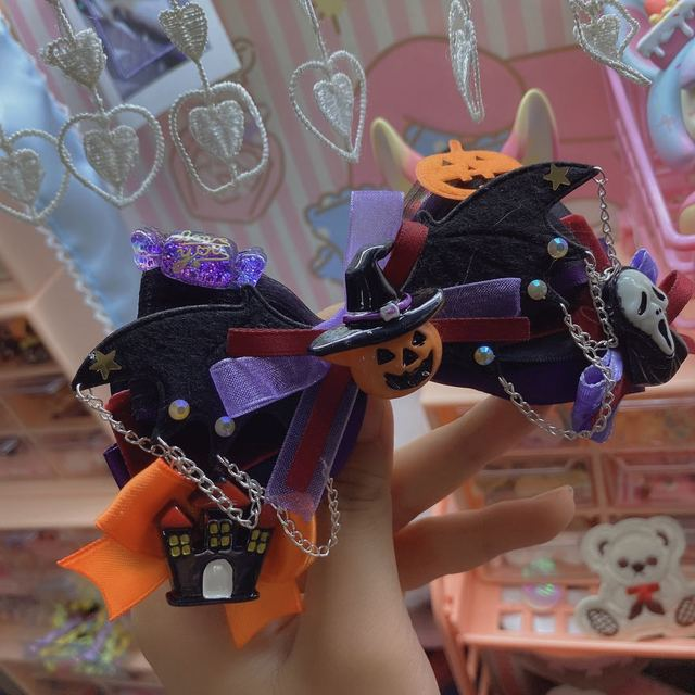 Handmade Halloween Hair Accessories Headdress Jewelry Clip Skull Bat Dark Series Hairpin