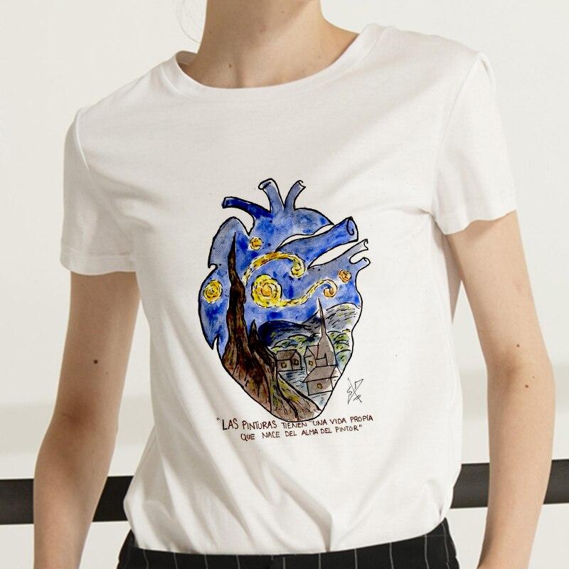 New  Harajuku Summer T Shirt Women Van Gogh Art Oil Painting T Shirt Fashion Tshirt Female Aesthetics Tees Tops Clothing