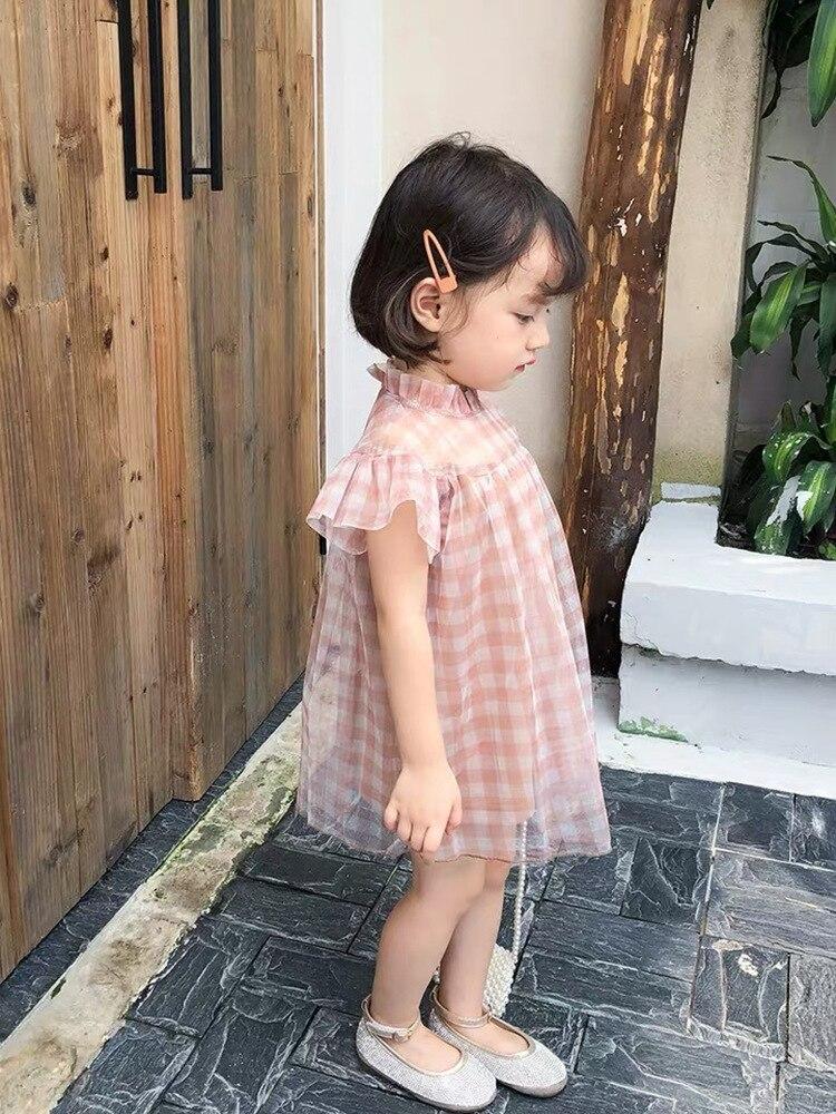 Image 4 - Платье для маленьких девочек летнее милое платье в клетку для дня рождения кружевное платье феи в стиле пэчворк милое платье для маленьких девочекСочетающаяся одежда для семьи   -