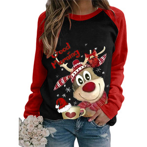 Christmas Elk Print Women Tshirts Long Sleeve Splicing Femme T-shirts Ladies Tops Koszulka Damska Christmas T Shirt For Women