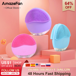 AmazeFan sonic facial cleaning brush IPX7 Waterproof powered facial cleaning Silicone foreoing Skin Pore Cleaner Massage
