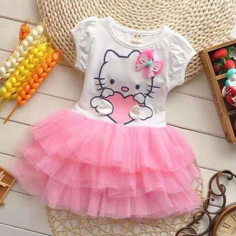 Kids Baby Girls Kitten Cat Costume Party Tutu Dress Summer Skirt Clothes 2-7Y