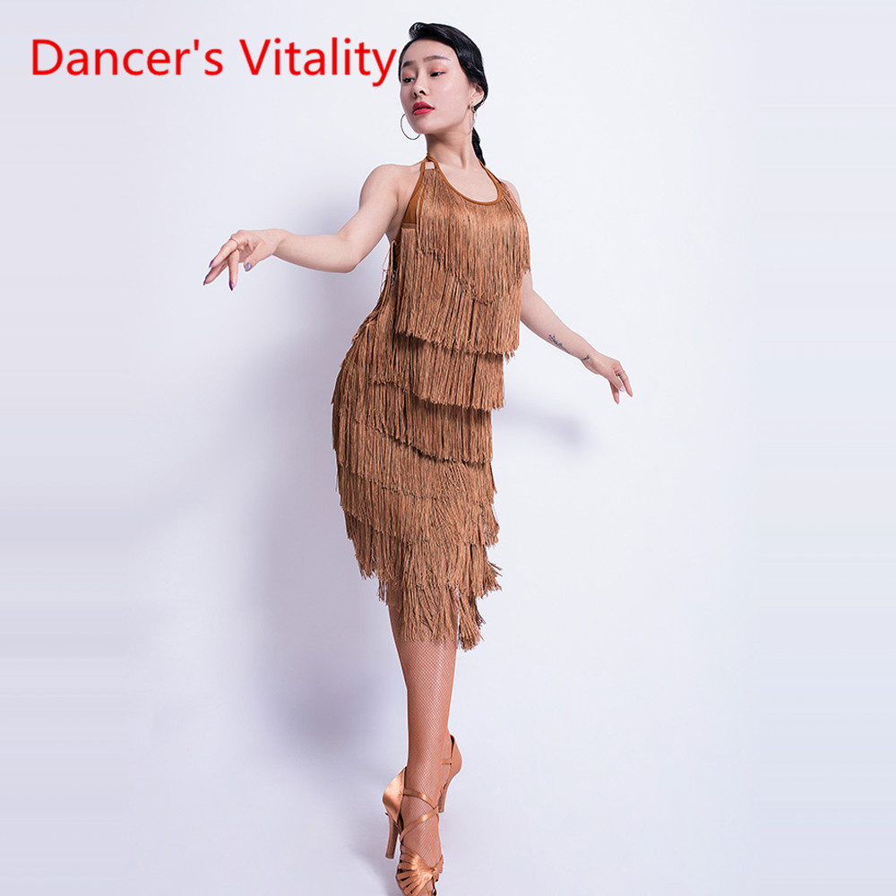 New Latin Dance Wear Female Adult Sexy Dress Tassel Practice Clothing Latin Competition/Performance Dance Costume