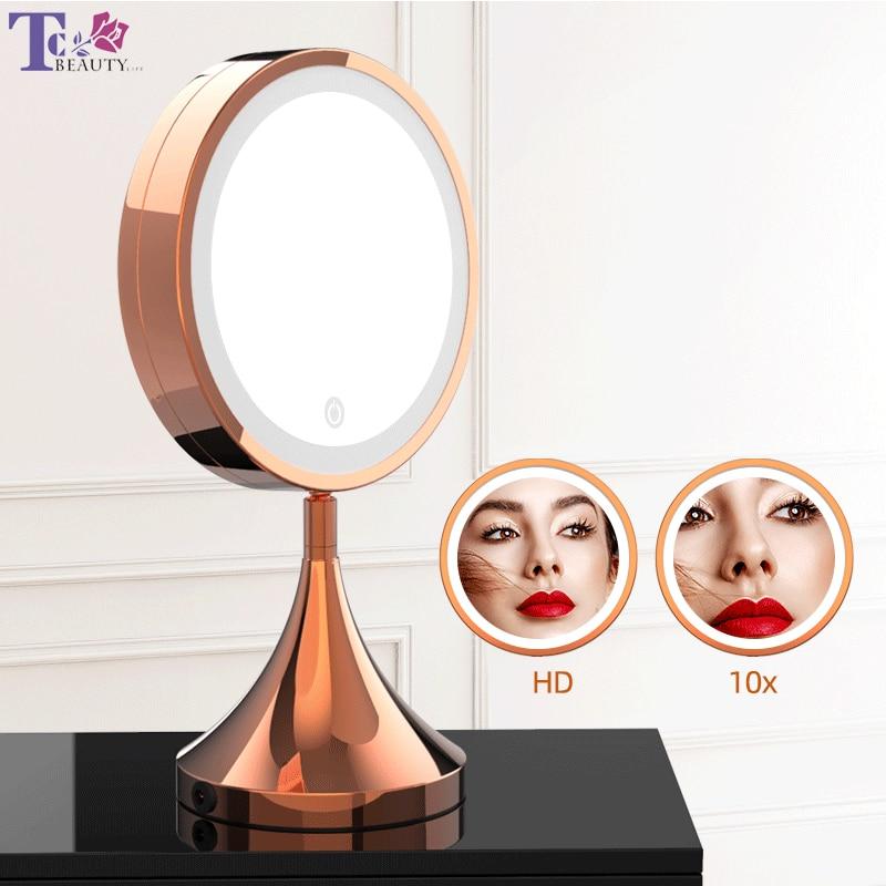 Miroir de maquillage à LED de haute qualité 8 pouces or Rose HD miroir de vanité de bureau réglable contrôle tactile luminosité miroirs cosmétiques