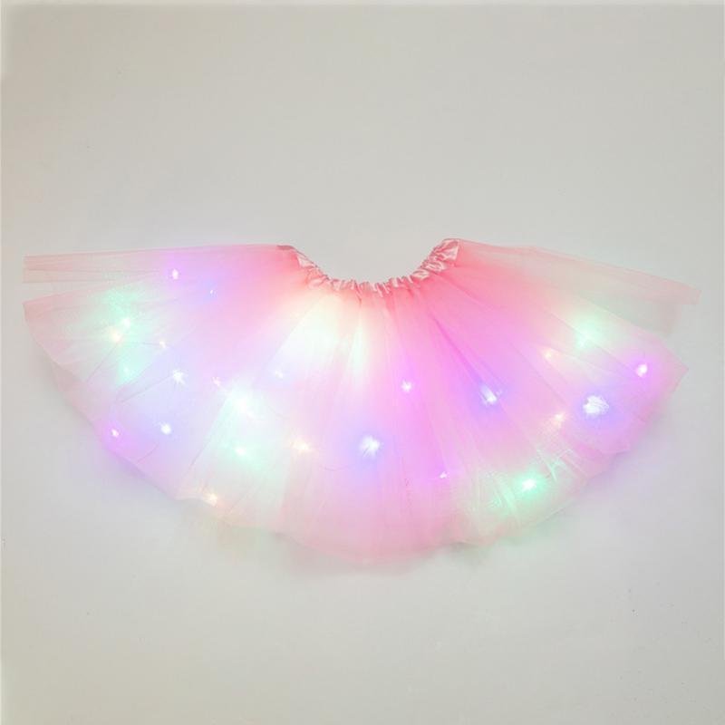 Girls Tutu Skirt Stars Sequin Fluffy Magic Light Princess Clothes Ballet Kids