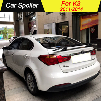For Kia K3 2011 2012 2013 2014 High Quality ABS Material Primer Color Car Tail Wing Decoration Rear trunk Spoiler(With LED LAMP)