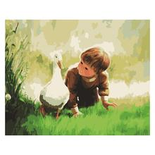 Little Boy Oil Painting Diy Digital Pure Hand-Painted Living Room Bedroom Study Decorative