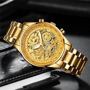 Image 3 - Nibosiメンズ腕時計レロジオmasculinoファッショントップブランドの高級クォーツ時計男性カジュアル高級防水スケルトン男性腕時計