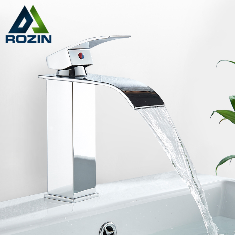 Rozin Hot cold basin faucet Waterfall Bathroom Vanity Sink Faucet Single Lever Chrome Brass Hot and Rozin Hot cold basin faucet Waterfall Bathroom Vanity Sink Faucet Single Lever Chrome Brass Hot and cold Basin Washing Taps