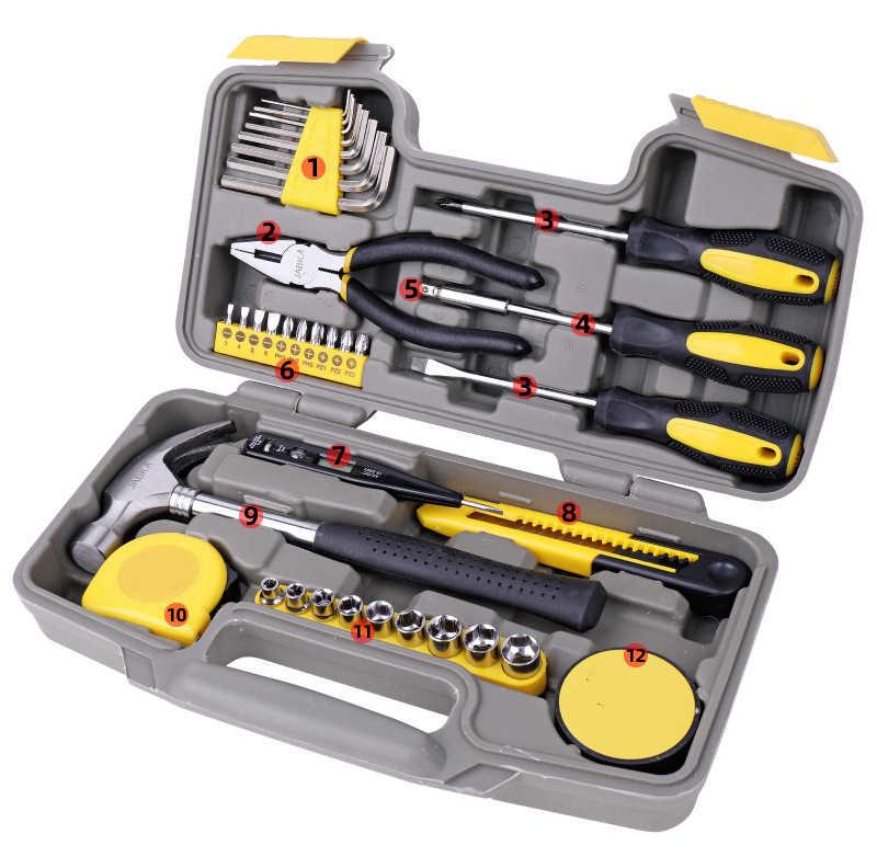 Juego de herramientas de mano para reparar el hogar con caja de herramientas de plástico