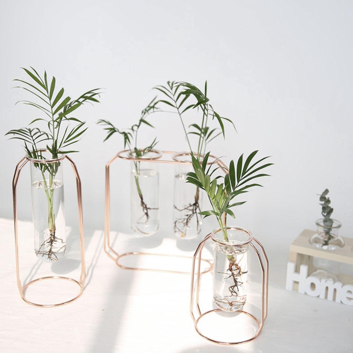 Nordique doré verre Vase fer hydroponique plante fleur Vase table café bureau décoration de la maison accessoires moderne|Vases|   - AliExpress
