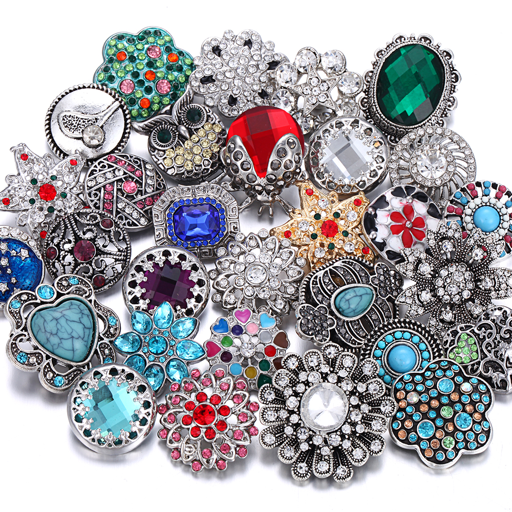 10pcs/lot Wholesale Snap Button Jewelry Mixed Metal 18mm Snap Button with Rhinestone Button for 20mm 18mm Snap Bracelets Bangles image