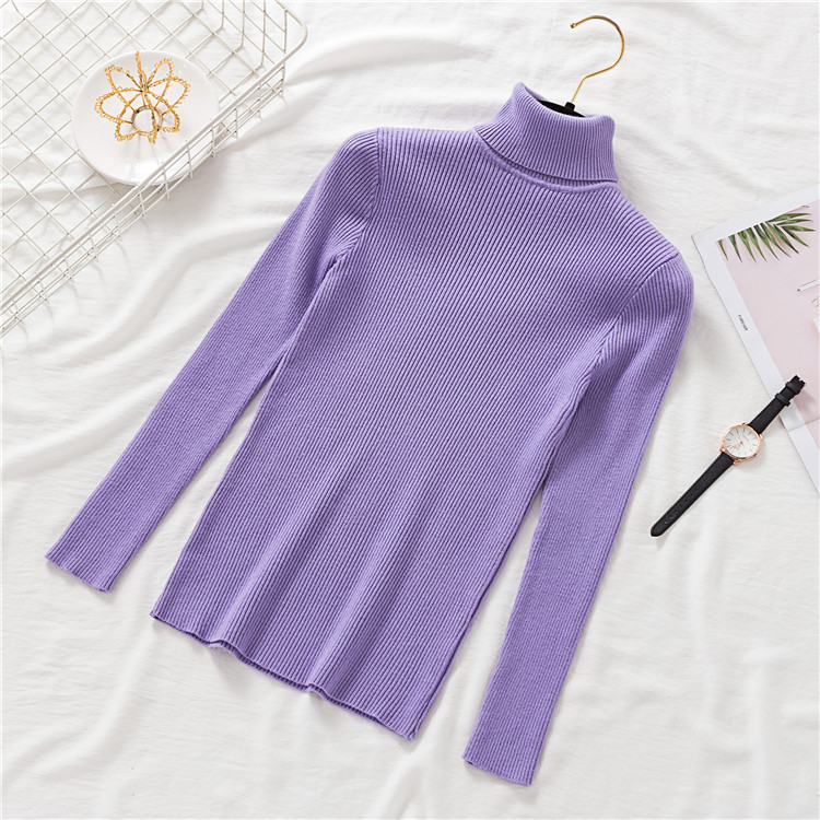 2020 AUTUMN Winter women Knitted Turtleneck Sweater Casual Soft polo-neck Jumper Fashion Slim Femme Elasticity Pullovers 11