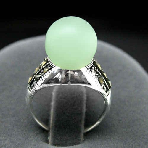 หายาก 8 มม.สีเขียวหยกลูกปัด MARCASITE ขนาดแหวนเงิน 925 ขนาด 7/8/9/10 5.29