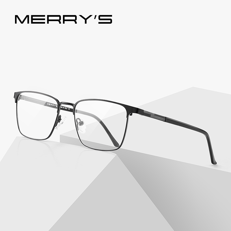 MERRYS DESIGN Men Luxury Titanium Alloy Square Optics Glasses Men Ultralight Eye Myopia Prescription Eyeglasses S2039