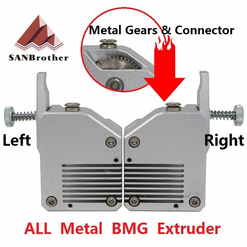 High Quality Dual Gear All Metal Bmg Extruder Bowden Dual Drive Extruder For 3d Printer Mk8 Cr-10 Prusa I3 Mk3 Ender 3