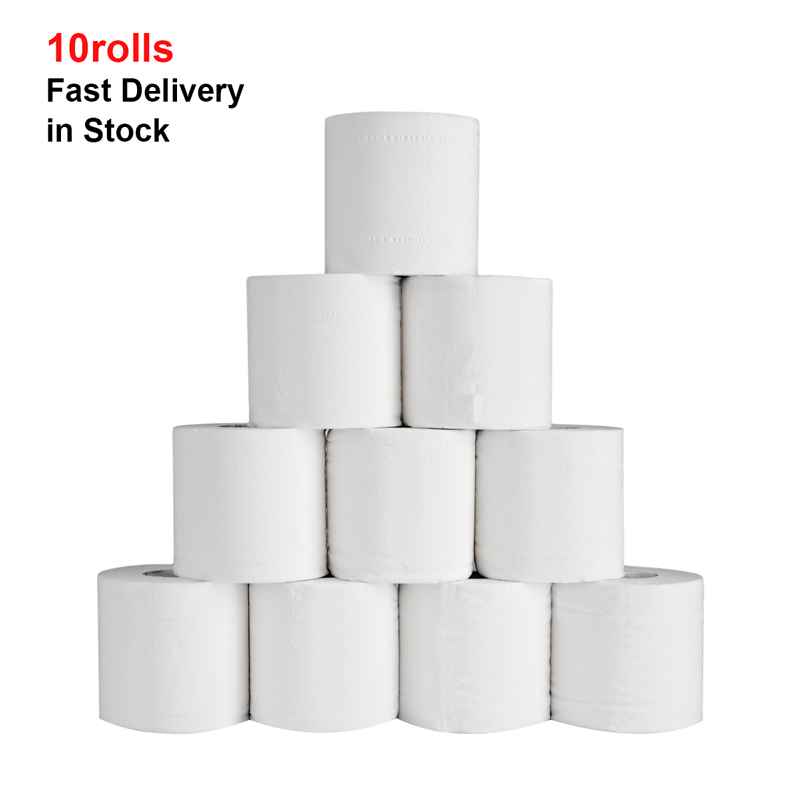 10 Rolls White Toilet Paper Roll Silky Smooth Soft Premium 4-Ply Toilet Paper Highly Absorbent Hand Towels For Daily Use