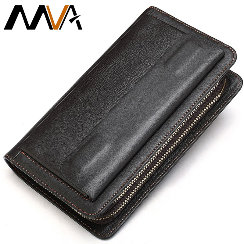 MVA Clutch Male Men's Wallet Genuine Leather Double Zipper Men's Clutch Bags Purse For Men Passport/Phone Wallets For Credit Car