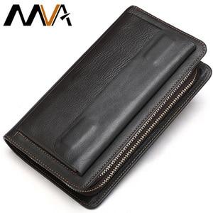 MVA Clutch Male Men's Wallet Genuine Leather Double Zipper Men's Clutch Bags purse for men Passport/Phone Wallets for credit car(China)